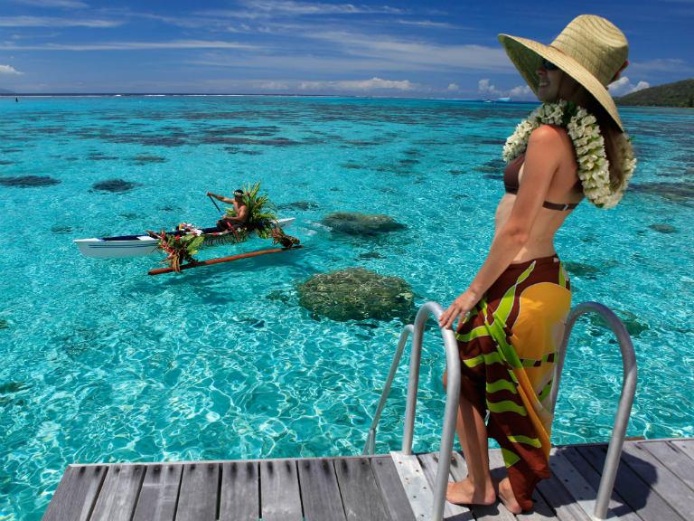Moorea Sofitel Resort Breakfast on Canoe